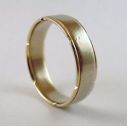 100 Genuine 375 9k Solid White And Yellow Gold Wedder Band Ring Sz 10.5 Us