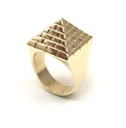 Pyramid Ring Heavy 54g Solid 9ct Gold Fully Uk Hallmarked