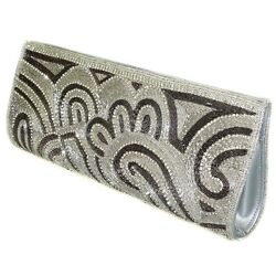 WOMEN'S Luxury Evening Bag  Lavish Shimmers Beaded Crystal Embroidered Clutc