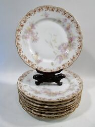 """Antique Haviland Limoges Big Purple Flowers And Gold Roses 8-9"""" Plates Je Caldwell"""