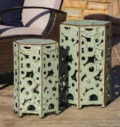 Table Outdoor Side Antique French Iron Small Tables Pair Patio Pool