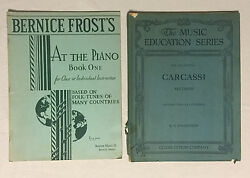 Lot Of 2 Vintage Music Books - At The Piano 1935 And Guitar Carcassi Method 1906
