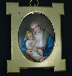 19c Porcelain Painted Oval Plaque Of The Madonna And Child Manner Of Murillo