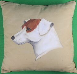 Hand-Painted Canvas Jack Russell Pillow