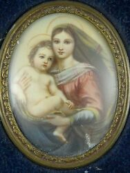19c Porcelain Painted Oval Plaque Of The Madonna And Child Manner Of Murillo .