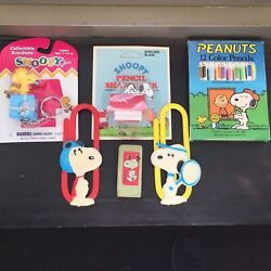 Snoopy Woodstock Peanuts Collectibles Lot Pencils Clips Sharpener Keychain Erase