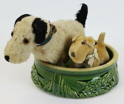 'two Steiff Dogs W/ C.1930's Dog 'watering' Bowl'