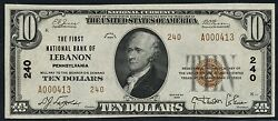 Fr1801-2 10 Lebanon, Pa -- Gem Unc -- Rare This Grade National Currency Hw2588