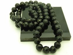 Victorian Black French Glass Jet Large Faceted Graduated Beads Necklace 30quot; $28.00