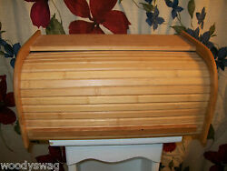 Roll Top Bread Box Kitchen Wood Breadbox Vintage Small One Loaf Country