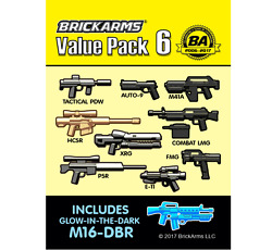 Brickarms Value Pack 6 Weapon Pack W/ Glow M16-dbr For Minifigures New
