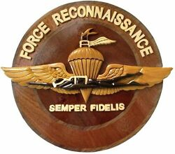 Marine Corps Force Recon Emblem - Usmc - Handcrafted Wood Art Military Plaque