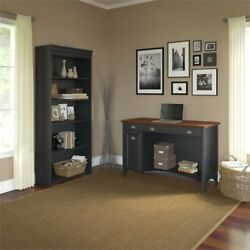 Fairview Computer Desk And 5 Shelf Bookcase In Antique Black - Engineered Wood
