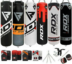 Rdx Filled Punch Bag Kick Boxing Set Gloves Punching Mma Ceiling Hook Chains