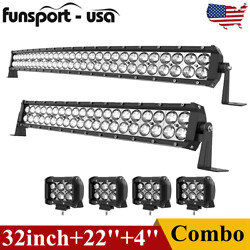 32inch Curved Led Light Bar +22'' Combo +4'' Pods Offroad Driving Fit Ford Truck