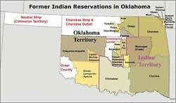Map. 1990s. Native American Indian Reservations In Oklahoma