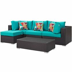 Modway Convene 5 Piece Patio Sectional Set In Espresso And Turquoise