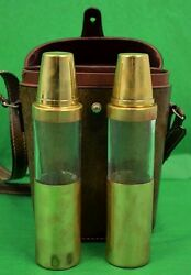 Twin Glass/brass Lid C1970s Flasks In Leather Case