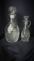 2 Vintage Clear Crystal Cut Glass Small And Large Decanters W/ Stopper Wine Or Oil