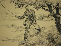 Paul Brown Calendar April 1945 #x27;Fly Fishing#x27; for Brooks Brothers