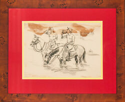 Charcoal C1940s Drawing Of Two Cavalry Officers On Horseback By Paul Brown