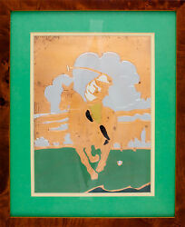 Classic 1930s Meadow Brook Polo Player On Copper Plate