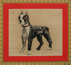 Vintage Needlepoint Boston Terrier Framed Canvas