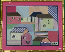 Hand-needlepoint Houses W/ Gilt Bamboo Frame C.1960's From A Palm Beach Estate'