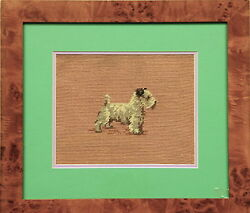 Custom Vintage Needlepoint Terrier Framed Canvas