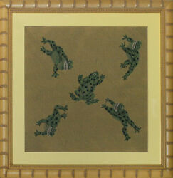 Custom Needlepoint Of Five Leaping Frogs Framed Canvas