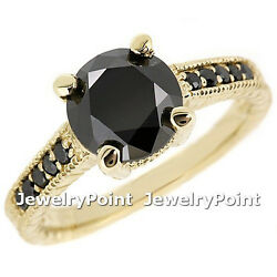 3.00ct Fancy Black Diamond Engagement Ring 14k Yellow Gold Vintage Antique Style