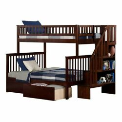 Atlantic Furniture Woodland Twin Over Full Staircase Storage Bunk Bed