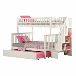 Atlantic Furniture Woodland Twin Over Full Staircase Trundle Bunk Bed
