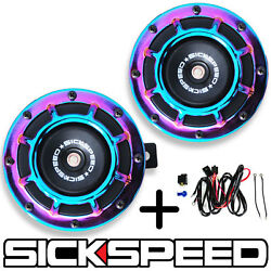 SICKSPEED 2PC NEO CHROME SUPER LOUD GRILLE MOUNT BLAST TONE HORN W HARNESS P6