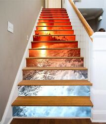 3d Red Waves Stair Risers Decoration Photo Mural Vinyl Decal Wallpaper Au