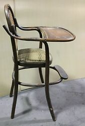 Vintage Antique Child Baby High Chair Bentwood / Cane Cs620