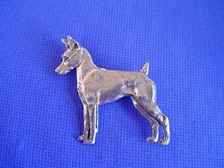 Minature Pinscher Standing Pin 34a Pewter Toy Dog Jewelry By Cindy A. Conter