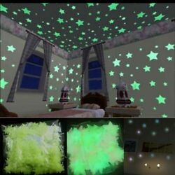 100 Glow In The Dark Plastic Stars Wall Sticker Kid Bedroom Room Ceiling Decor