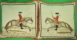 Fab Pair Of Equestrian Officer Petit Needlepoint Pillows W/ Suede Colour Backing