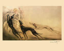 Greyhound Dogs By French Artist Louis Icart 16 X 20 Vintage Poster Free S/h