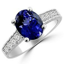 Oval Tanzanite And Diamond 14k White Gold Engagement Ring Vintage Antique Style