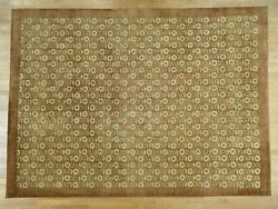 10and039x13and03910 Hand Knotted Agra With Rosette Design Pure Wool Oriental Rug G35470