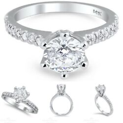 18k White Gold Pave Enhanced Diamond Ring 0.78 Ct Weight Round D Si