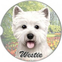 WESTIE WEST HIGHLAND TERRIER DOG 2CT CAR COASTERS