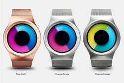 Modern Novelty Wrist Watch Without Hands And With Diagonal Colored Disks