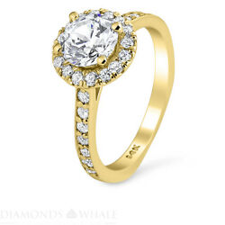 Engagement Round Diamond Ring Si2/d 1.51 Ct Yellow Gold Accents Round Enhanced