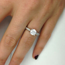 Si1/f 1.27 Tc White Gold Enhanced Round Bridal Diamond Ring Solitaire Accents
