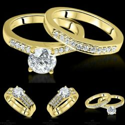 Si1/e 1.45 Tc Yellow Gold Enhanced Round Bridal Diamond Ring Solitaire Accents