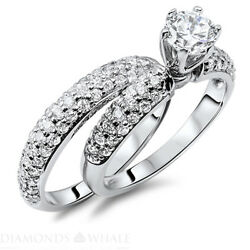 Wedding Round Enhanced Diamond Ring Solitaire Accents D/si1 1 Tcw White Gold