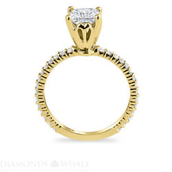 Solitaire With Accent 1.02 Tcw Diamond Enhanced Ring Yellow Gold Princess Si1/f
